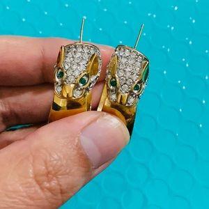 14k Gold Dragon w/Emerald & Cubic Zirconia earring